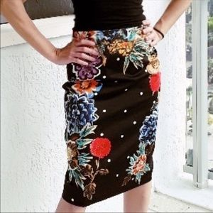 Anthropologie Baraschi Floral Pencil Skirt Size 0